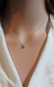 Tiny Circle Necklace, Gold Turquoise Karma Pendant, Eternal Jewelry - Viyoli Jewelry Designs