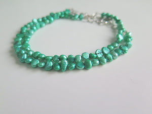 Spring Green Bracelet, Colorful Freshwater Pearl Anklet, Gift for Her - Viyoli Jewelry Designs