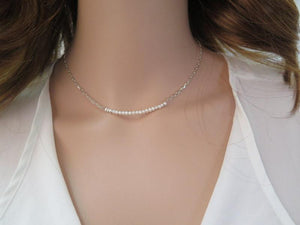 Freshwater Pearl Necklace, Minimalist Necklace, Silver Pearl Necklace - Viyoli Jewelry Designs