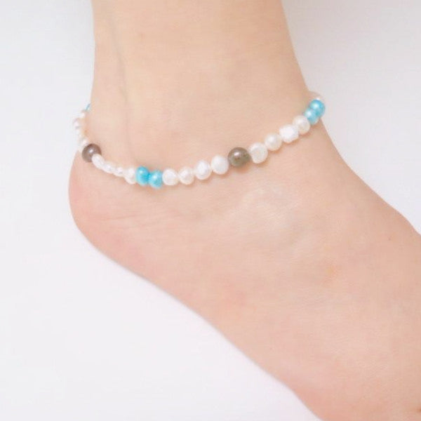 Pearls Anklet, Colorful Anklet, Bohemian Bracelet, Beaded Anklet - Viyoli Jewelry Designs