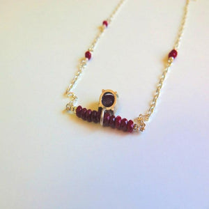Genuine Ruby Pendant Necklace, Solid Silver Gemstone Necklace - Viyoli Jewelry Designs