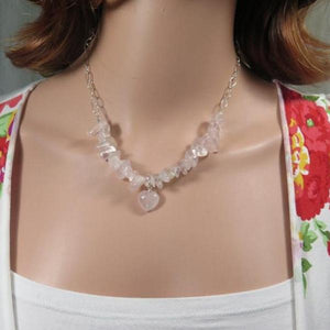 Rose Quartz Necklace, Gemstone Heart Necklace, Healing Crystal - Viyoli Jewelry Designs