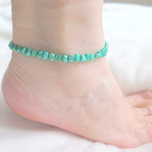 Green Bracelet, Silver Pearl Anklet, Gift for Her, Summer Jewelry - Viyoli Jewelry Designs
