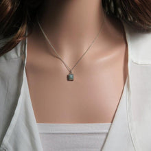 Aquamarine Gemstone Pendant, Square Necklace, Dainty Silver Jewelry - Viyoli Jewelry Designs