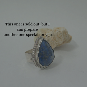 Unique Lapis Lazuli Ring, Silver Statement Bezel Band, Just For You - Viyoli Jewelry Designs