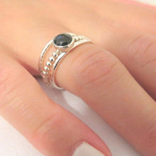 Thin Stacking Ring Set with Onyx Gemstone, 925 Sterling Silver Jewelry - Viyoli Jewelry Designs