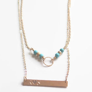 Layered Personalized Set, Bar Circle Turquoise Necklaces, Gift for Mom