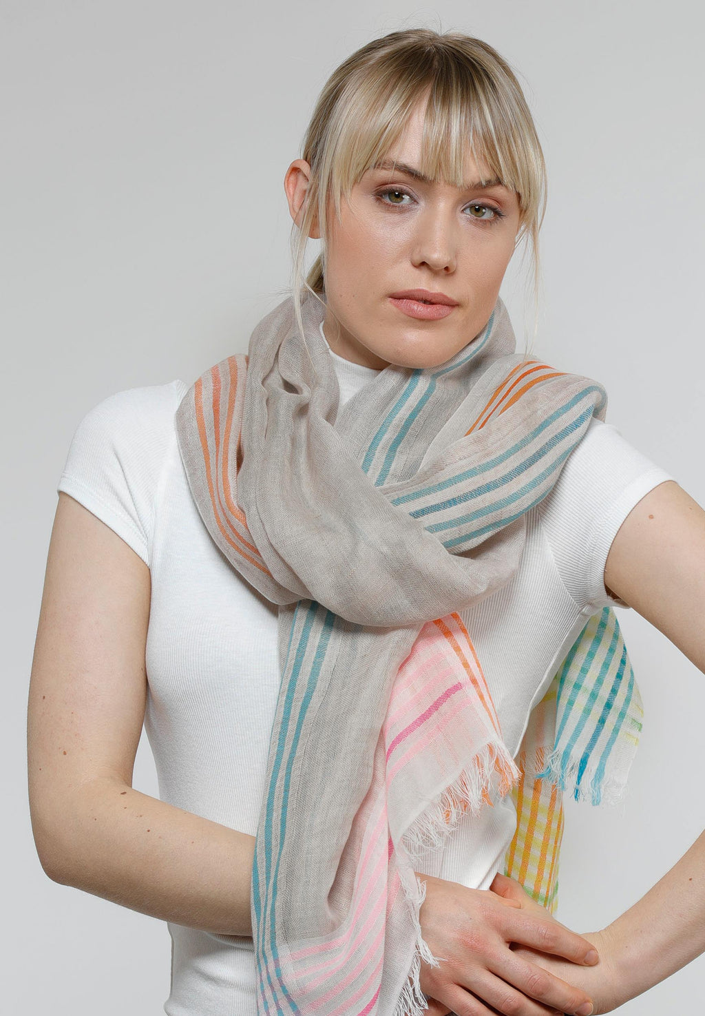 FRAAS Bright Border Stripe Linen Cotton Blend Scarf