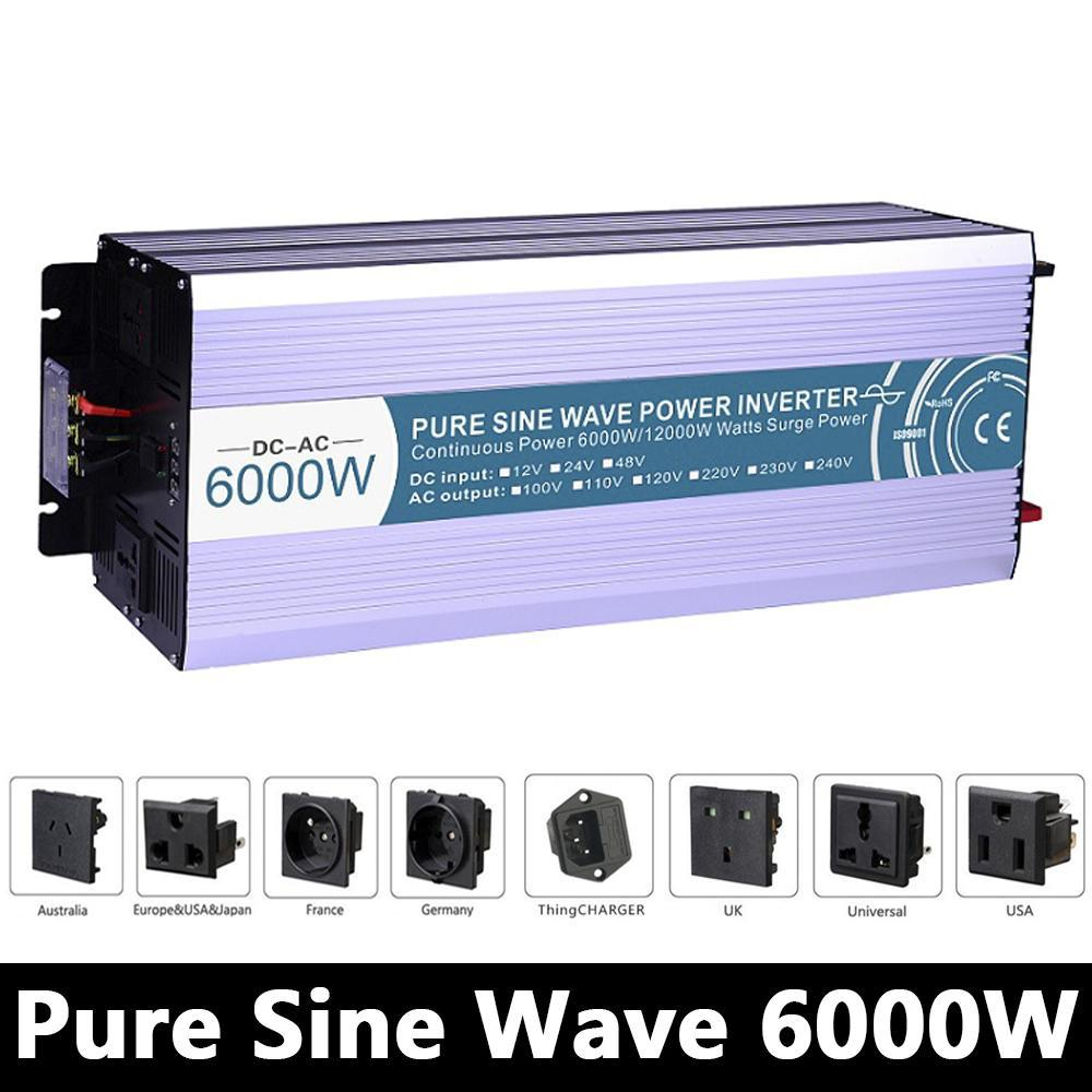 Pure Sine Wave High-power 6000W Inverter DC12V/24V/48V To AC110V/220V