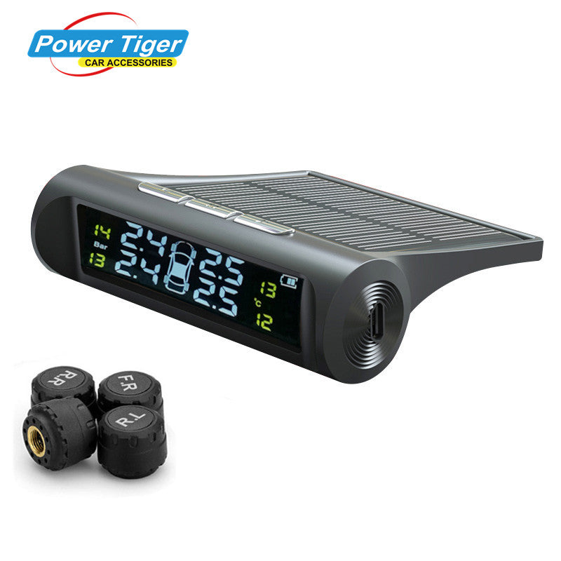 Solar Power Wireless Tire Pressure Monitoring & Alarm System - BONUS 1 Dual USB Car Charger
