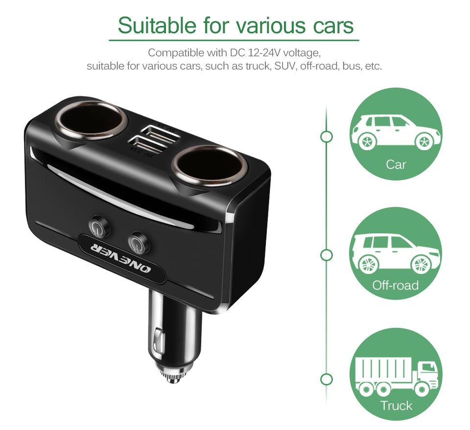 3.1A Dual USB Quick Charge With 2 Cigarette Lighter Socket 12V-24V (On/Off) with Voltage Current