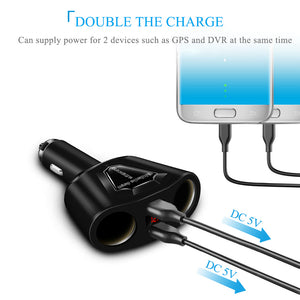 3.1A Dual USB Car Charger with 2 Cigarette Lighter Sockets 120W Power Support Display Current Voltage