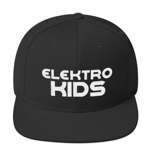 "Elektro Kids (Solid White) Embroidered Snapback Hat (w/ ""EK"" on back) - Elektro Kids Media"