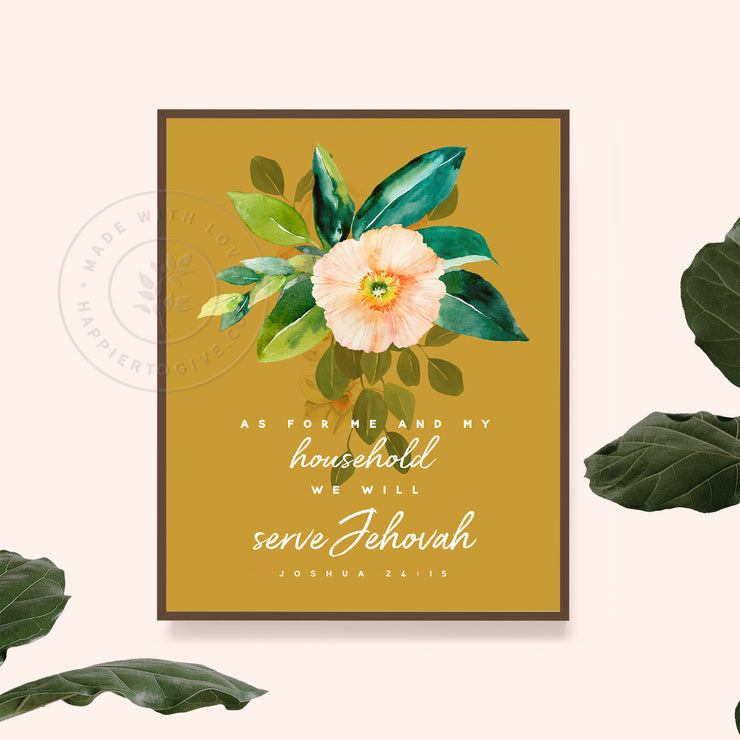 My Household Will Serve Jehovah : Vintage Botanicals : Printable Download