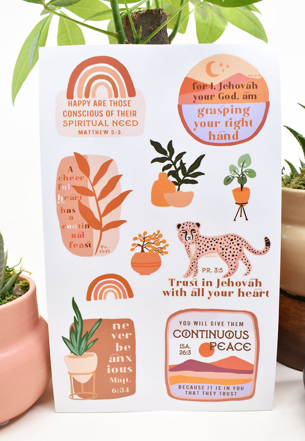 5 Sheets of Happy Vinyl Stickers : Washable & Reusable