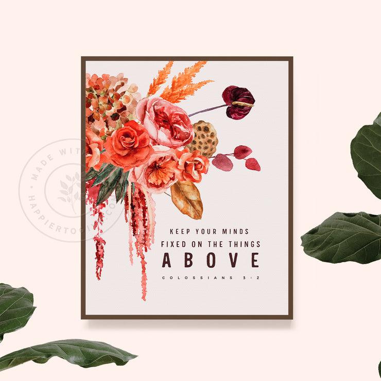 Mind On The Things Above : Vintage Botanicals : Printable Download