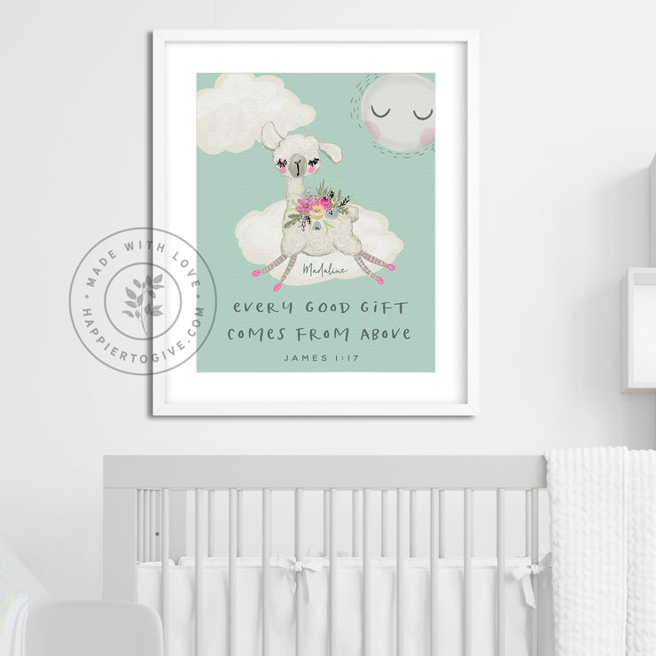 Baby Llama : Every Good Gift Comes From Above : English & Spanish : Kids Printable Download