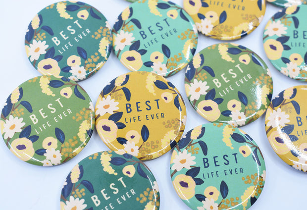 4 Pack of JW Best Life Ever Buttons : Multipack : Mint, Mustard, Dark Green, & Chartreuse