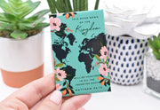 """This good news of the kingdom"" teal map magnet"