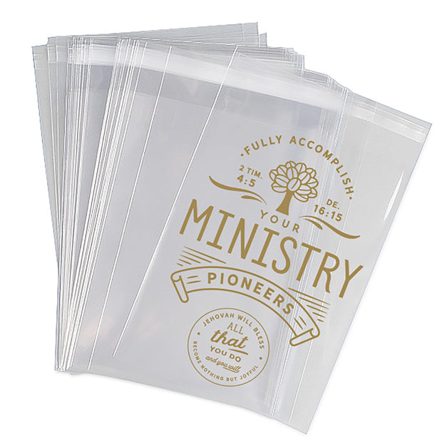 """Fully Accomplish Your Ministry"" gold lettering, clear gift bags for pioneers"