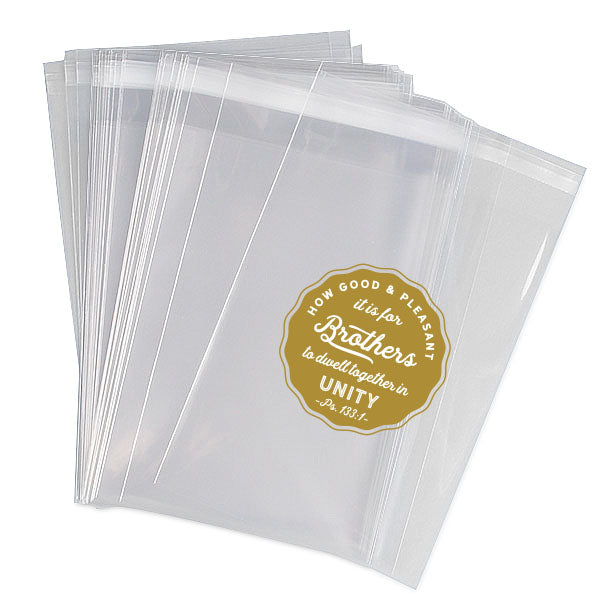 "4.5"" x 6"" JW gift bags, Self sealing strip, Design print in gold"