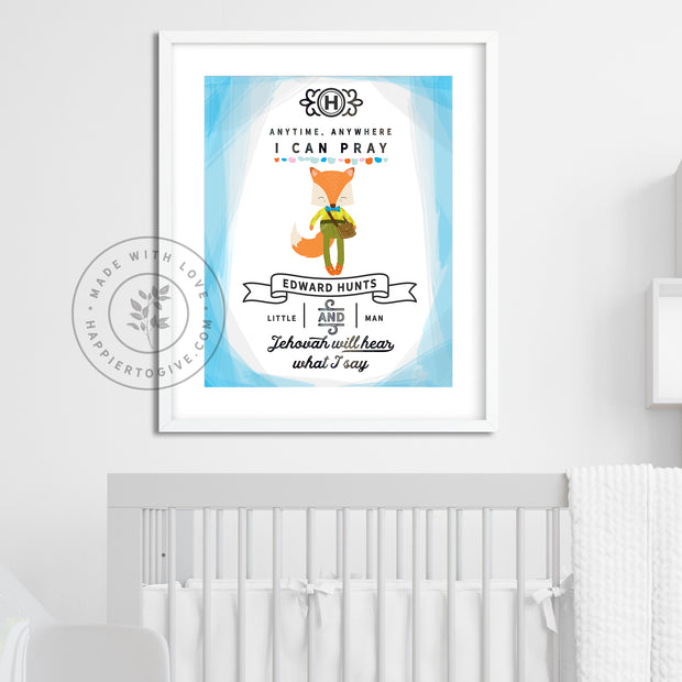 Anytime Anywhere I Can Pray : Personalized Little Fox : Kids Printable Download : English & Spanish