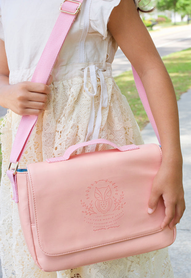 Kids Ministry Bag : Blush Pink with Houses & Lemons Fabric