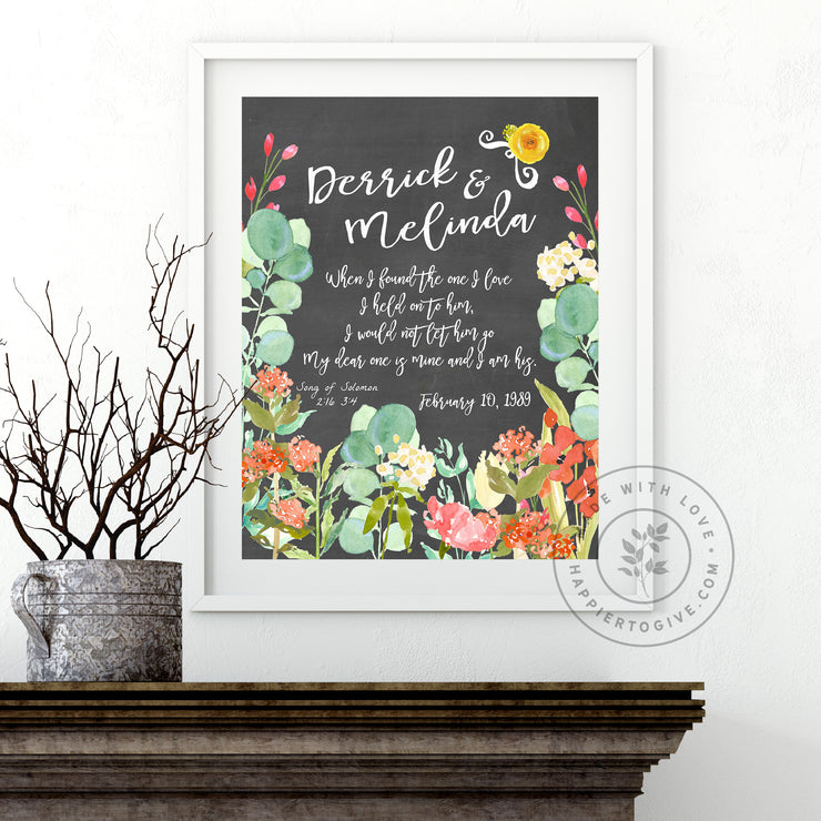 Wedding / Anniversary Gray Floral : English & Spanish : Printable Download