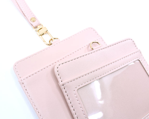 "4""x3.5"" faux leather, nude pink JW convention badge holder."