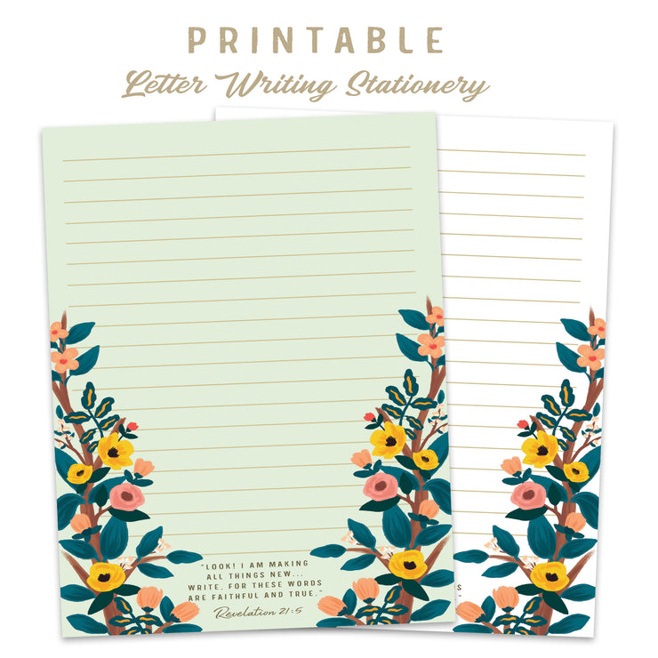 Letter Writing Stationery : Printable Download : English & Spanish Included