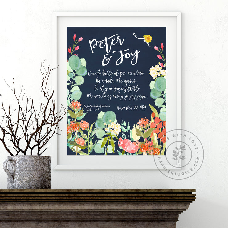 Wedding / Anniversary Navy Floral : English & Spanish : Printable Download