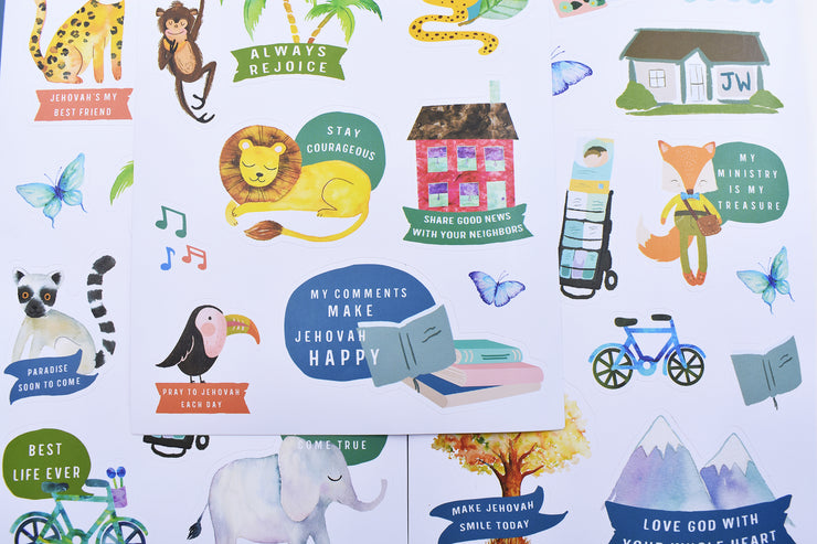 Kids Happy Sticker Pack : Vinyl, Washable & Removable : 3 Pages