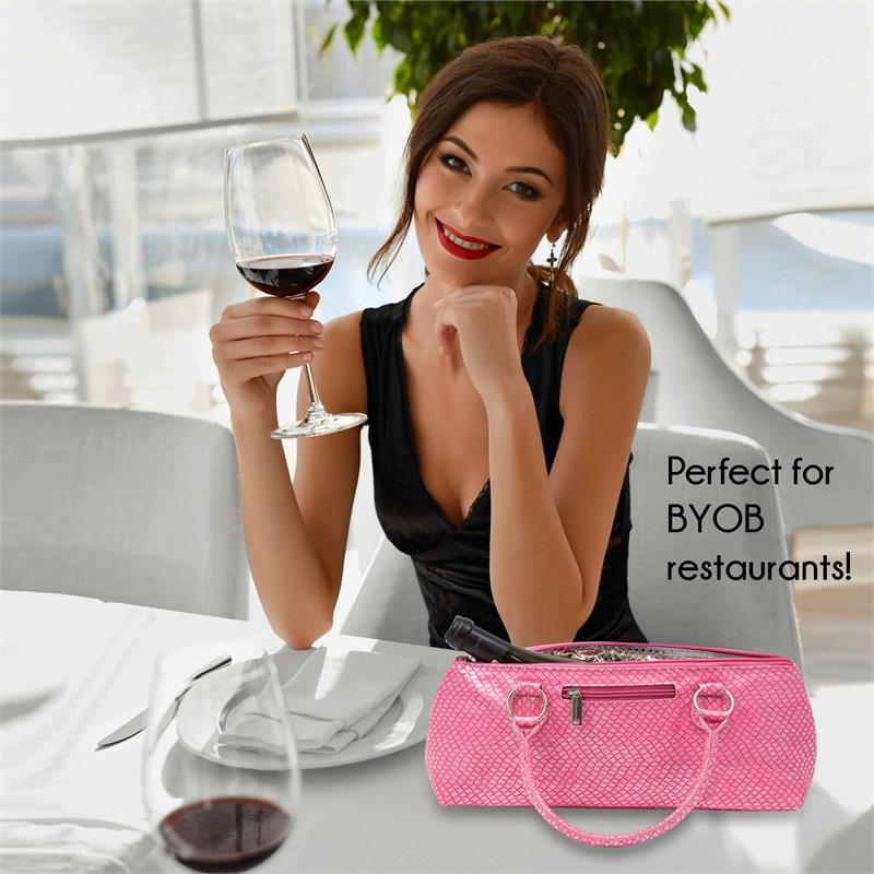Insulated Wine Clutch - Pink Burmese