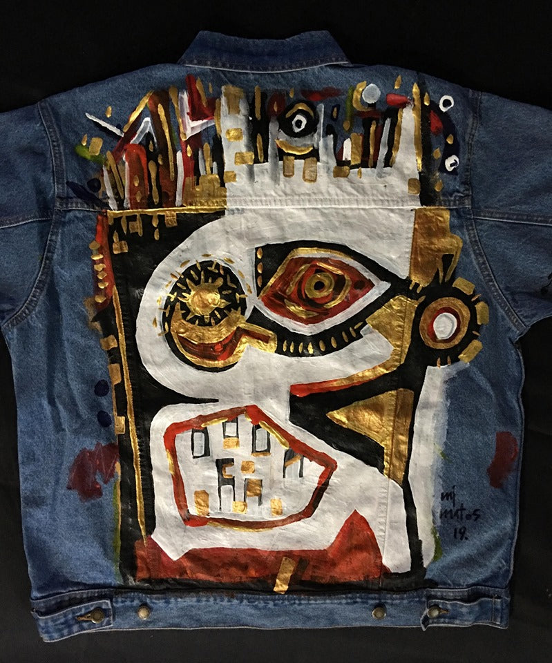 Hand Painted Jacket - Earring Face