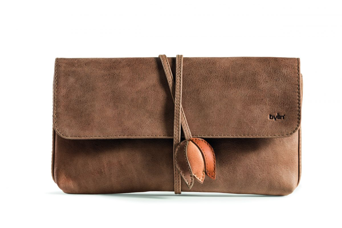 Tulip Envelope Wallet / Clutch / Purse - Taupe with Multi Tulip Strap