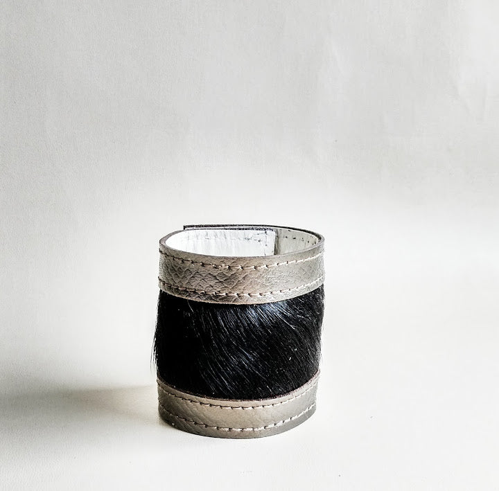 Luxury Crafted Cuff - Bronze Leather & Black Fur