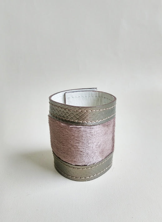 Luxury Crafted Cuff - Bronze Leather & Camel Grey Fur