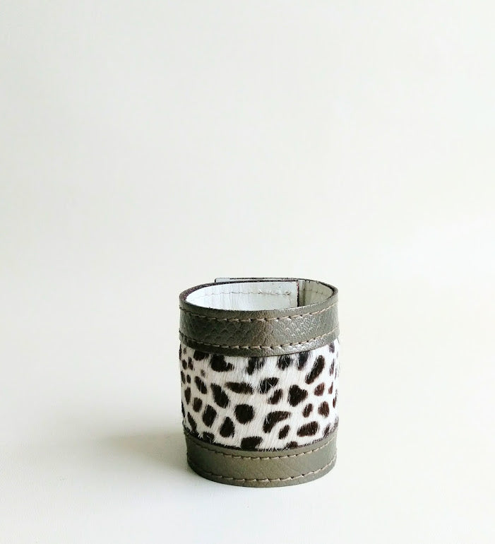 Luxury Crafted Cuff - Bronze Leather & Animal Print