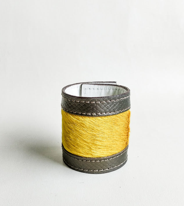 Luxury Crafted Cuff Bracelet- Bronze Leather & Yellow Fur