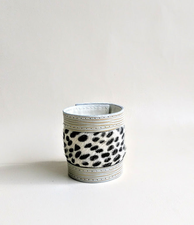 Luxury Crafted Cuff Bracelet- Creamy Stripe Leather & Animal Print