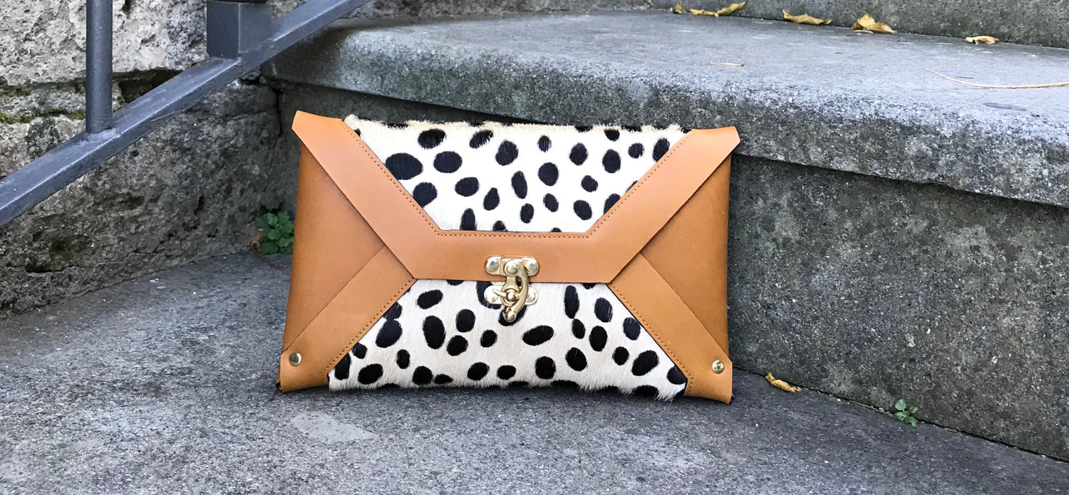 Hair On Cowhide Clutch - Blond Cheetah - Midi