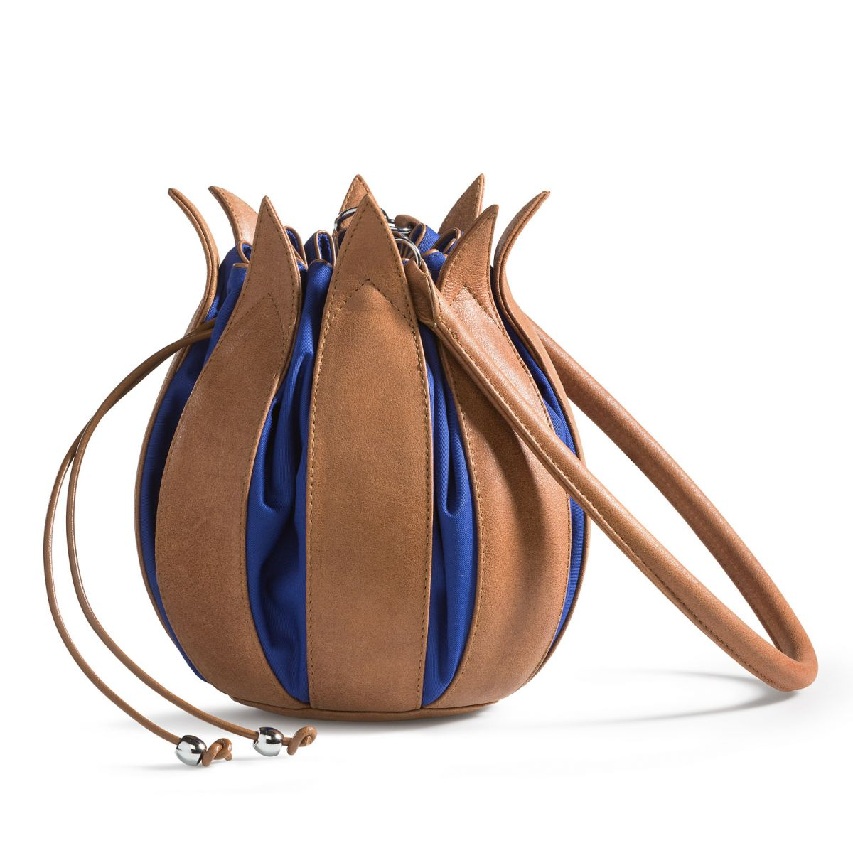 Tulip Bag - Vintage Leather - Taupe/Cobalt - Large
