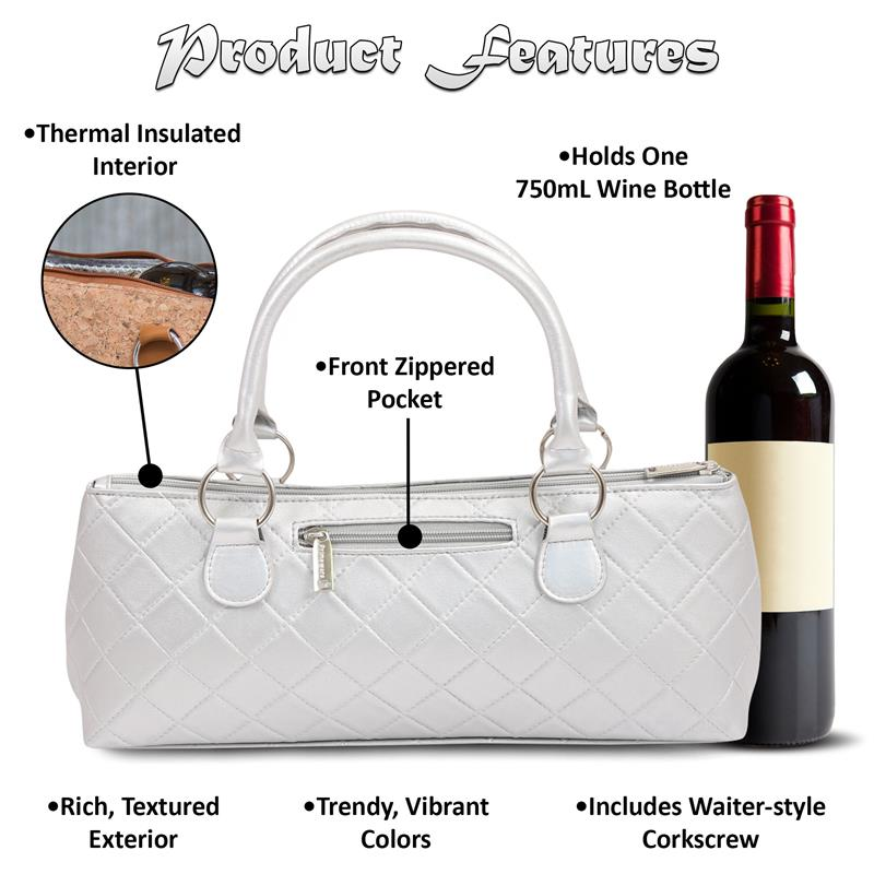 Insulated Wine Clutch - Silver Quilted