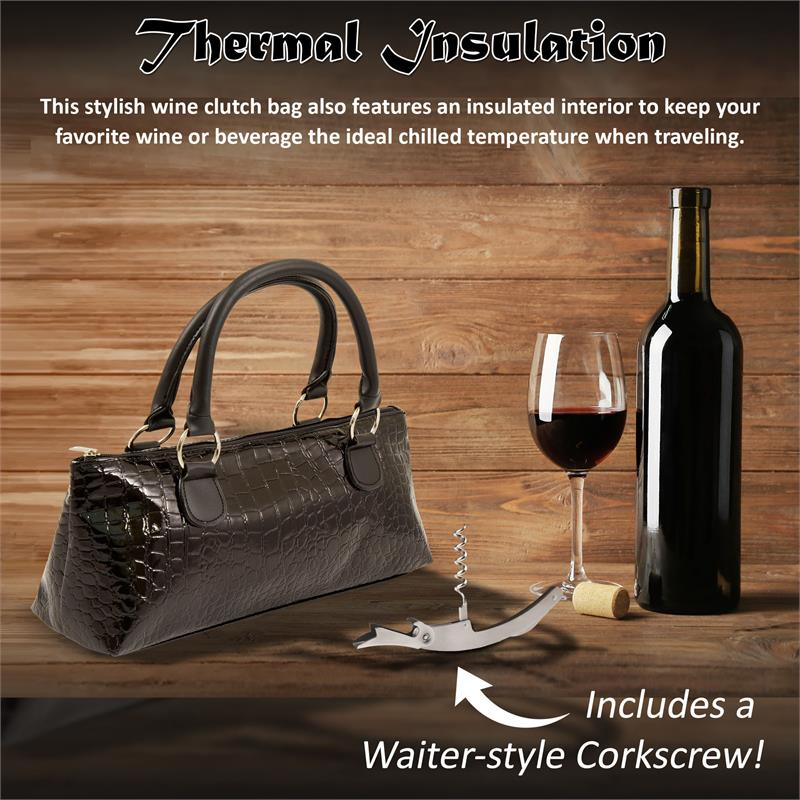 Insulated Wine Clutch - Black Crocodile