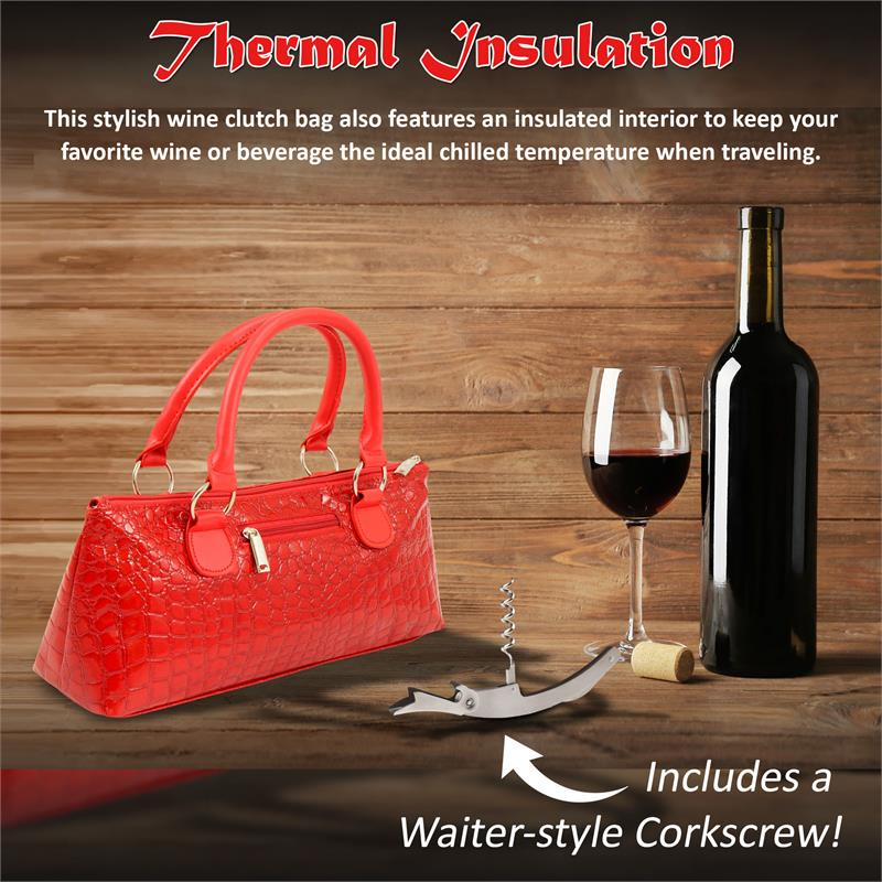 Insulated Wine Clutch - Red Crocodile