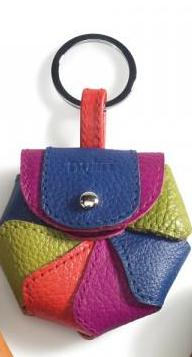by-Lin  Flower Keyring - Fuchsia, Lime Green, Blue, Orange Leather