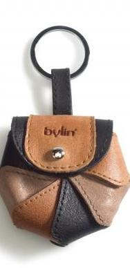 by-Lin Flower Keychain - multi black, cognac and taupe