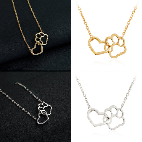 Free cute dog footprint with heart pendant necklace for women cm cute dog paw footprint with love heart pendant necklace for women mozeypictures Gallery