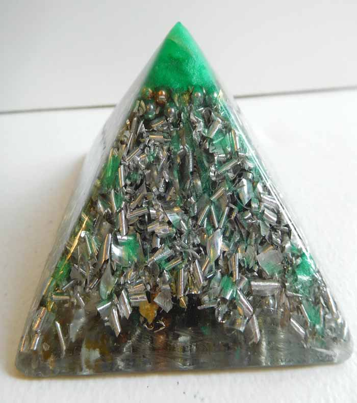 Crystal Clear Emerald Large Pyramid 2H 3.5B #81 Custom Positive Orgone Energy Abundance=Life+LOVE!!!