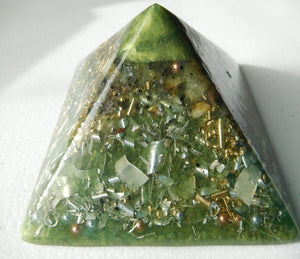 "Green Color Pyramids 2""H 3.5""B"